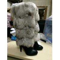 2014 Nobel luxurious fox feather +Cow leather upper +Pig skin lining female Mid Booties Manufactures