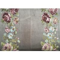 China Embroidery Imitation Polyester Curtain Fabric With Flower Design on sale