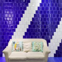 Living Room Colorful Wall Tiles 15X15cm Treasure Blue Ceramic Glazed Wall Tiles Manufactures