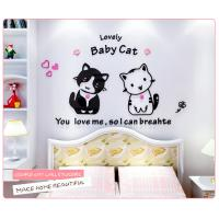 cat sitting room sofa acrylic 3D three-dimensional wall stickers creative cartoon stickers crystal bed children's room Manufactures