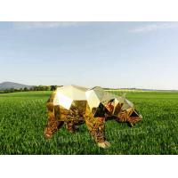 Golden Stainless Steel Statue Bear Animal Sculpture With Block Effect As Zoo Decor Manufactures