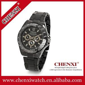 China Black Gun 008A Stainless Steel Watches Unisex Fashion Jewelry Wholesale Price Japan Quartz Watch Men on sale