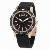 Sports Watch with Rubber Strap and Alloy Case, Plastic Bezel on Case, 3ATM Waterproof Manufactures