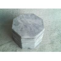 Set 6 Solid Plain Stone Coasters Octagon Eight Sided White Color With Vein Manufactures