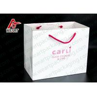 White Card Paper Custom Printed Grocery Bags , Personalized Paper Wine Bottle Gift Bags Manufactures