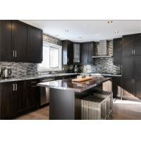 Black Color Solid Wood Kitchen Cabinets With Blum Full Extension Soft Closing For Villa Manufactures