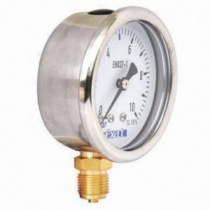China Glycerin filled pressure gauge on sale