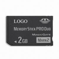 China Memory Stick Pro Duo, 2GB Memory Capacity, High-speed Data Transfer and 2.7 to 3.6V DC Input Voltage on sale