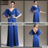 China SH722 Elegant A-line V-neck Half Sleeves Backless Blue Chiffon Pleat Beaded Floor Length Evening Gown Dresses on sale
