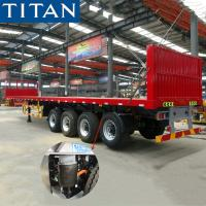 China TITAN 4 axle air suspension semi truck flatbed trailer for sale on sale