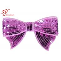 China Baby girl bows flower hair clips With Sequin 100% Polyester Satin Ribbon wholesale