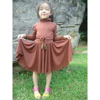 Young Girls Turtleneck Dress , Fur Stoppers Waist Kids Autumn Dress Clothes Manufactures
