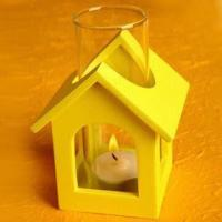 China MDF Tea Light House with Glass Windproof Cylinder, Available in Various Colors of House on sale