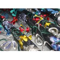 China Fancy Multi Colored Floral Embroidered Lace Fabric 120 CM Polyester on sale