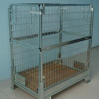 China Wire Mesh Storage Cages Stock Metal Heavy Duty Container 2 Layers on sale