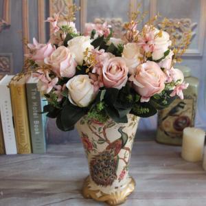 UVG Fake Pink Rose Flower Valentine Day Gift Fake Satin Ribbon Handmade Flowers Manufactures