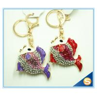 China Lovely Goldfish Fish Cute Crystal Rhinestone Charm Pendant Purse Car Key Ring Keychain Party Favorite on sale