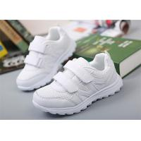 Breathable Little Girl Gym Shoes , Kids White Sneakers With Two Magic Straps Manufactures
