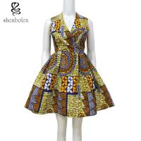 Warp Front Dress African Wax Print Sleeveless Fit And Flare Knee Length Manufactures