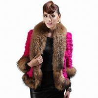 China Fashionable Design Ladies Rex Rabbit Fur Coat, Noble and Elegant on sale