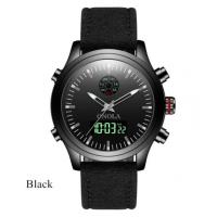 genuine leather band strap mens watches digital and analog dual time zone wrist watches Manufactures