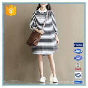 Polo Shirt Design Winter Korean Striped Dresses New Fashion Lady Dress Manufactures