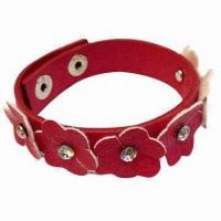 Leather Bracelet with Floral Piece and Stone Studs, Available in Various Colors Manufactures