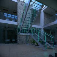 LED Light U Shape Glass Staircase Manufactures