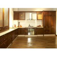 Ancient Solid Wood Kitchen Cabinets , Hanging Kitchen Wall Cabinets With Quartz Stone Countertop Manufactures