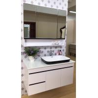 China Custom Made White Bathroom Vanity Cabinets / Units Single Basin Wall Mounted on sale
