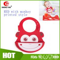 Cute Monkey Printed Baby Placemat Silicone Bibs With Crumb Catcher Manufactures