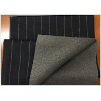 Navy Background Vertical Stripe Twill Double Faced Wool Coating Fabric With Medium Grey Manufactures