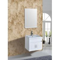 PVC Vanity Cabinets Modern Square Bathroom Cabinet Sink Mirror 60cm / Basin Manufactures