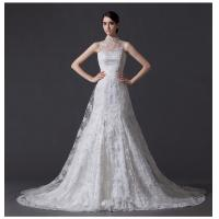 Unique Pearl illusion neckline Halter Neck Wedding Dresses with Lace back Manufactures