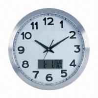 Aluminum frame wall clock with calendar and temperature functions Manufactures