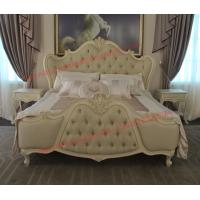 Exquisite Fabric Padding Headboard with Solid Wood Bed in Ivory White Painting Manufactures