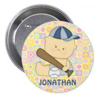 China Staff Company Name Badges Tinplate Button Matte Lamination With Safety Pin on sale