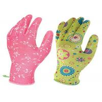 Flower Printed Floral Gardening Gloves , Nitrile Palm Coated Gloves Manufactures