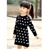 Polka Dots Jacquard Knit Little Girls Winter Dresses Full Sleeve 4 Year Old Girl Clothes Manufactures