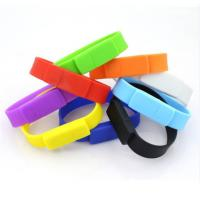 Quality Silicone Wristband Pvc Flash Drive  Bracelet USB Disk Pen Drive  Red / Blue Color for sale