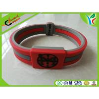 China Double Layer Silicone Wrist Bracelet Red / Green / Black Eco-fridendly on sale