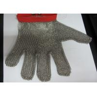 Quality M Size Red Stainless Steel Gloves For Cutting , Chain Mail Gloves Anti Wear for sale