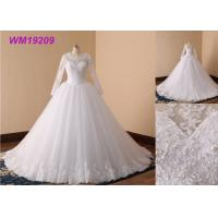 Beaded Simple Long Sleeve Wedding Dresses , Long Boat Neck Lace Wedding Dress Manufactures