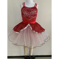 Quality Little Girl Dance Clothes Red Color Custom Made Design About 0.22kg for sale