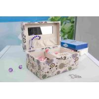 Pink Fabric Jewelry Box L25*W16*H13CM , Watch Storage Box With Lock And Mirror Manufactures