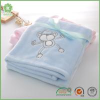 Fashion Animal Embroidery Super Soft Blue Flannel Baby Blanket Manufactures