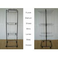 2 Ways Wire Metal Floor Display Stands With Casters Knock Down Structure Manufactures