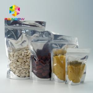 PET / PE Aluminum Foil Pouch Packaging Clear Metallic Foil Stand Up Ziplock Bag Manufactures