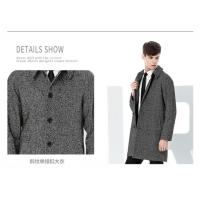 Buy cheap Twill Wool Fabric Winter Coat Male Black/Gray Medium to Long Single Button from wholesalers