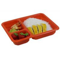 Disposable Plastic Food Trays With Dividers 1200ml Wider Edge Sealed By Film Manufactures
